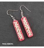 Živé šperky - Náušnice Jardiniere růžové s trvalými bílými květy