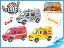 Kovové záchranářské auto svítící 1ks hasiči