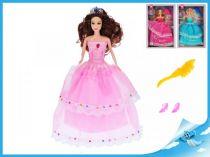 Panenka princezna kloubová 29cm s doplňky růžové šaty