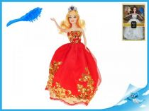 Princezna 29cm s vyšívanými šaty červená
