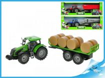 Traktor s vlečkou model 1:32 červená