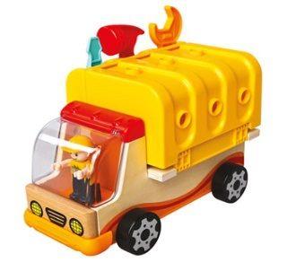 Dřevěné hračky Bino Multifunkční auto s nářadím