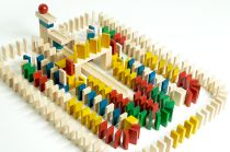 EkoToys Dřevěné domino barevné 830 ks