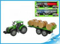 Traktor s vlečkou model 1:32 modrá