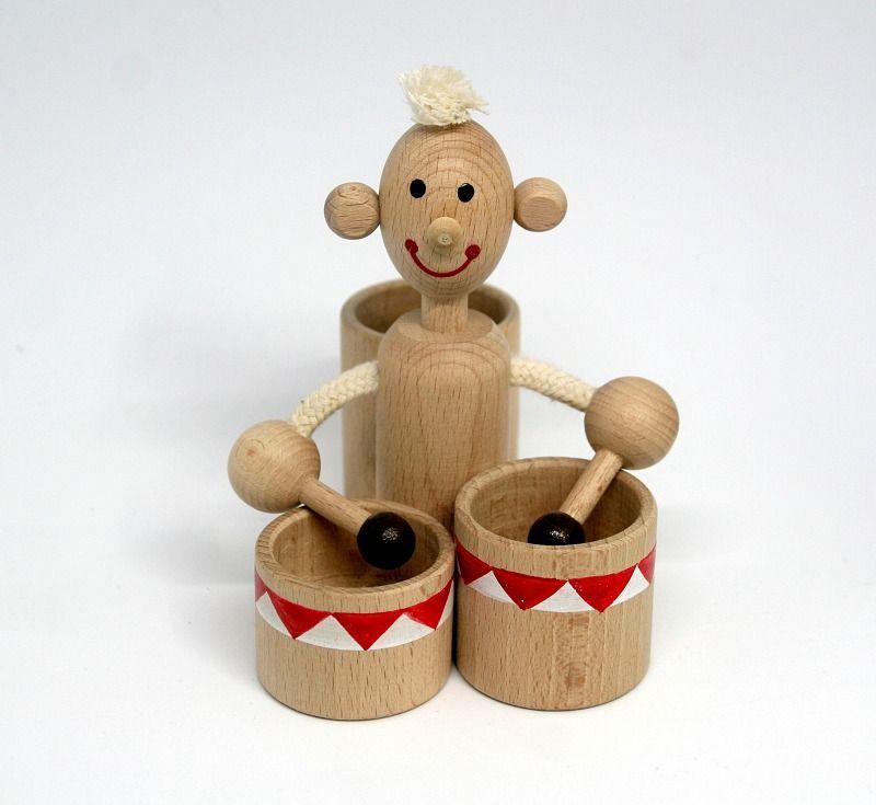 Dřevěné hračky Bubeník-stojánek na pastelky - dřevěná hračka ručně malovaná Česká dřevěná hračka