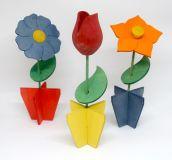 Dřevěné květiny - skládací - 3 ks