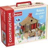 Dřevěné hračky Jeujura Dřevěná stavebnice 120 dílů Lyžařské středisko