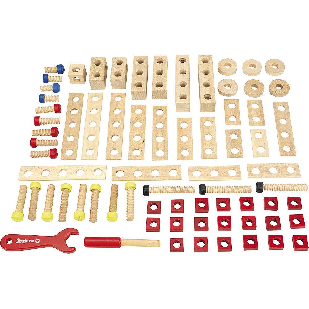 Dřevěné hračky Jeujura Dřevěná stavebnice 70 ks