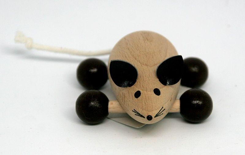 Dřevěné hračky Myška - dřevěná hračka ručně malovaná Česká dřevěná hračka