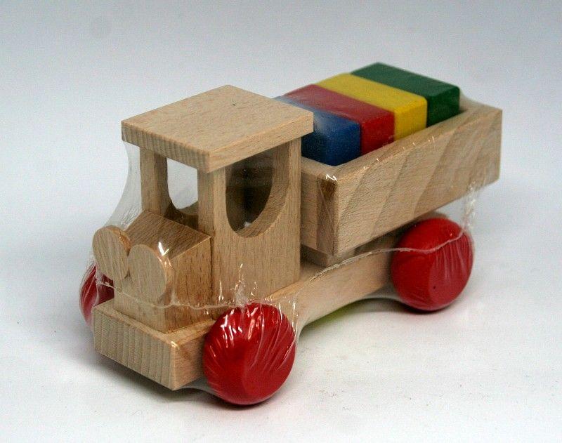 Dřevěné hračky Nákladní autíčko s korbou a s rozkládacím nákladem v barevném provedení Česká dřevěná hračka