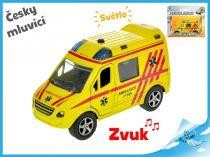 Kovová ambulance česky mluvící