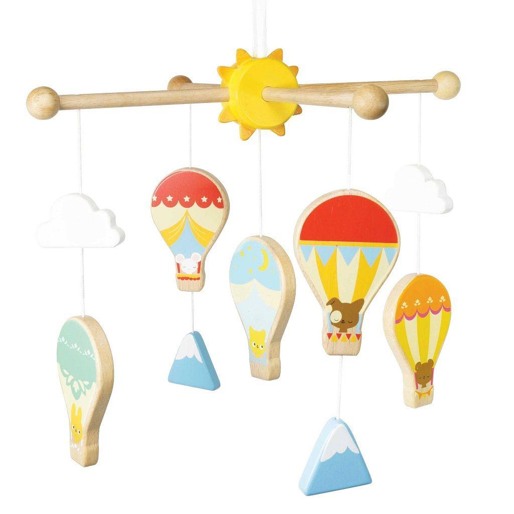 Dřevěné hračky Le Toy Van Petilou závěsný kolotoč horkovzdušné balóny