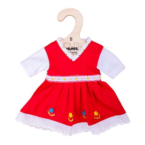 Dřevěné hračky Bigjigs Toys Červené květinové šaty pro panenku 28 cm