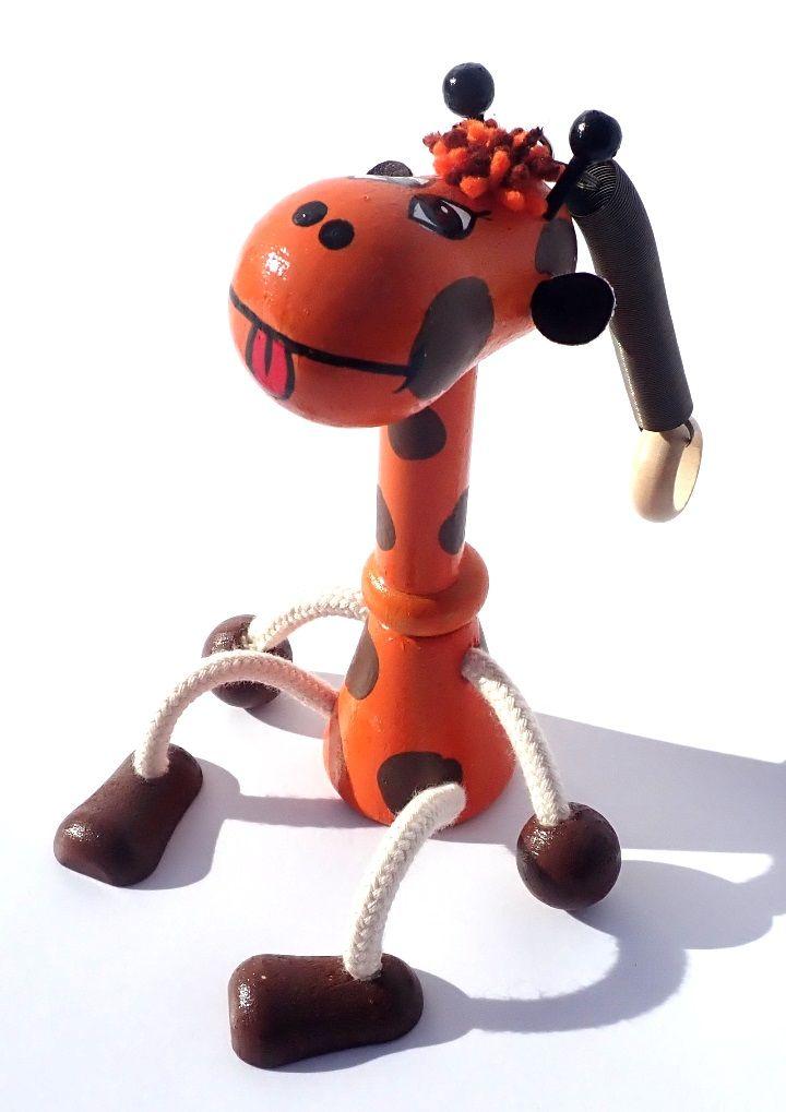 Dřevěné hračky Dřevěná hračka na pružině - Žirafa Česká dřevěná hračka