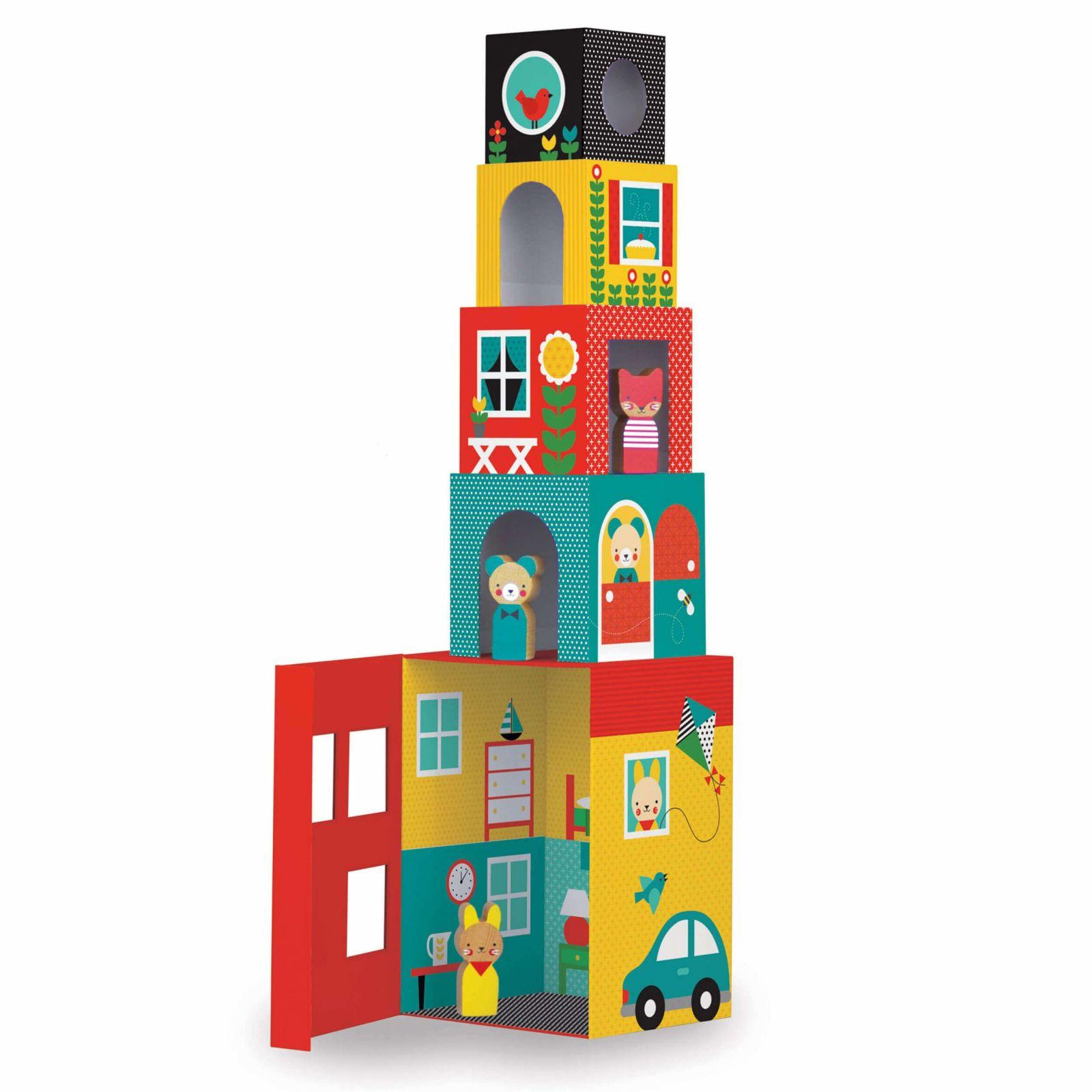 Dřevěné hračky Petitcollage Věž z 1-2-3 kostek domečky s postavičkami