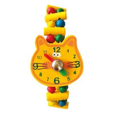 Dřevěné hračky Bino Dřevěné hodinky Kočka