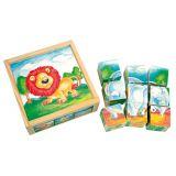 Dřevěné hračky Bino Dřevěné hračky obrázkové kostky divoká zvířata 9 ks
