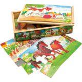Dřevěné hračky Bino Dřevěné puzzle v krabičce zvířátka