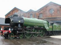 Dřevěné hračky Bigjigs Rail Elektrická lokomotiva Flying Scotsman zelená