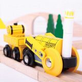 Dřevěné hračky Bigjigs Rail Replika historické lokomotivy Rocket + 2 koleje
