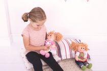 Dřevěné hračky Bigjigs Toys Látková panenka Penny 38 cm