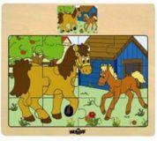 Dřevěné puzzle na desce - zvířata s mláďaty - koně