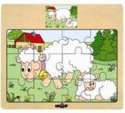 Dřevěné puzzle na desce - zvířata s mláďaty - ovce