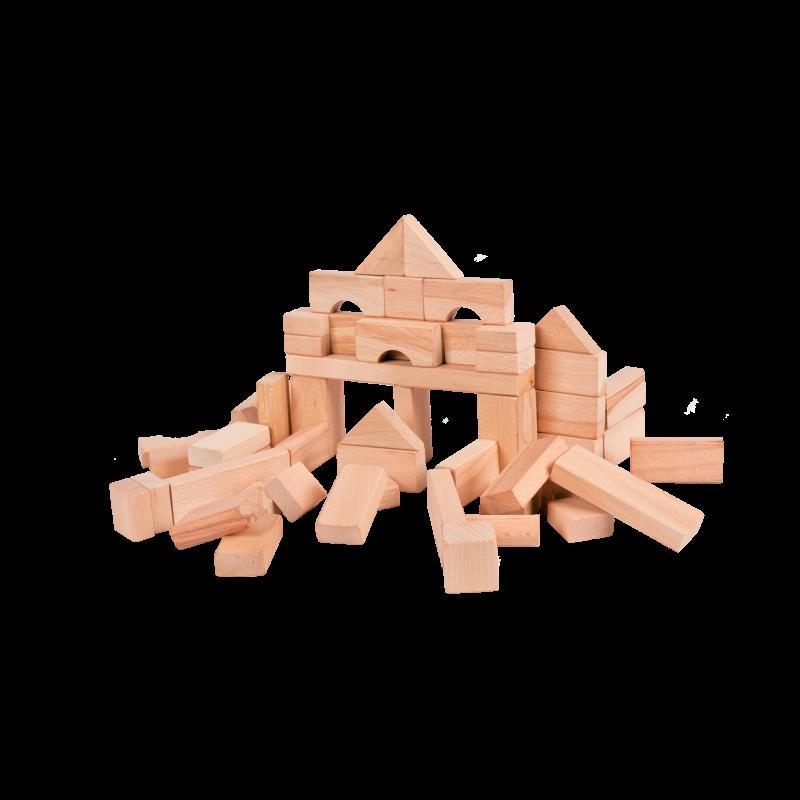 Dřevěné hračky Kostky dřevěné přírodní 50ks v krabičce Buki