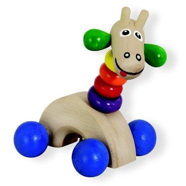 Dřevěné hračky Detoa Dřevěná žirafa na kolečkách