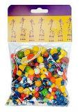 Dřevěné hračky - Dřevěné korálky - Mix perlí barevných 70g