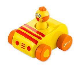 Dřevěné hračky Classic world Dřevěné pískající auto s kuřátkem