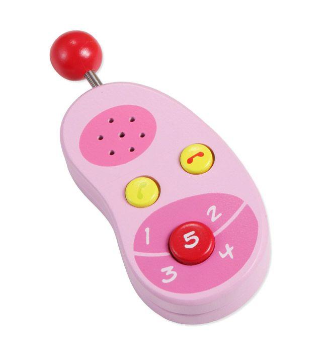 Dřevěné hračky Classic world Dřevěný růžový mobilní telefon