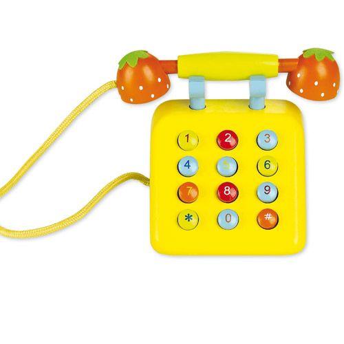 Dřevěné hračky Classic world Dřevěný žlutý telefon