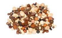 Dřevěné hračky - korálky - Mix perlí hnědopřírodních 100g