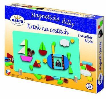 Dřevěné hračky Detoa Magnetické dílky Krtek na cestách