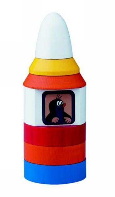 Dřevěné hračky Detoa Pyramida Krtek v raketě