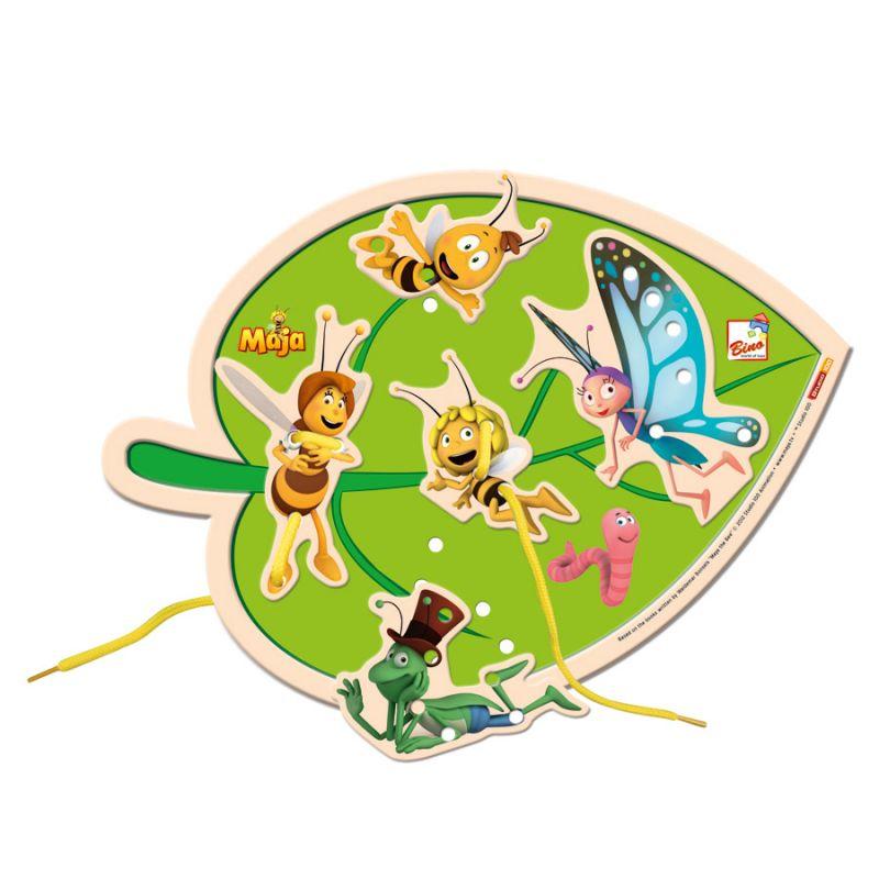 Dřevěné hračky Bino Dřevěné Motorické hry šití list včelka Mája