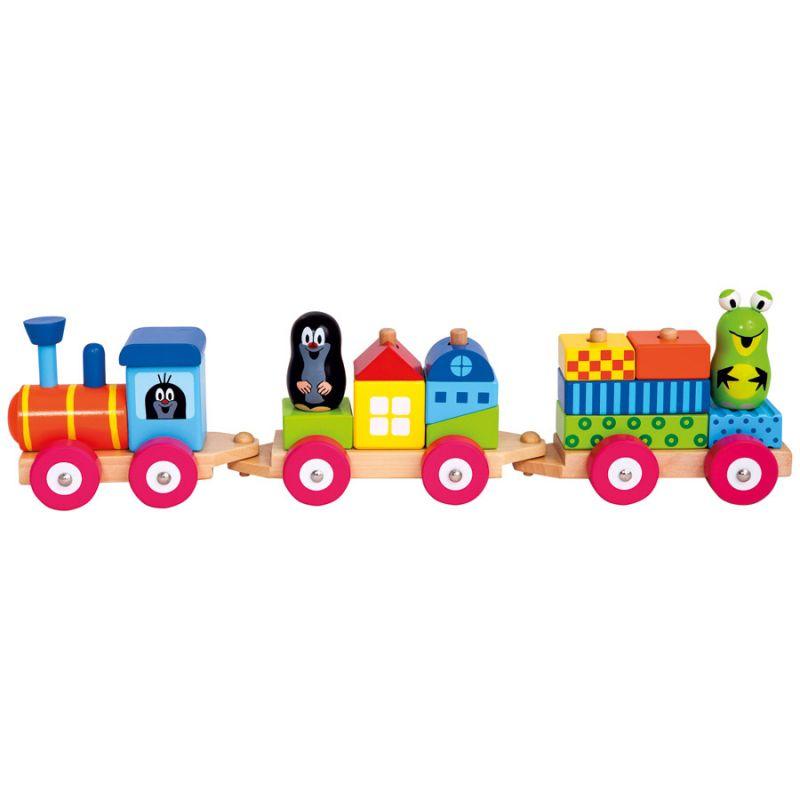 Dřevěné hračky Bino Vlak s domečky Krtek