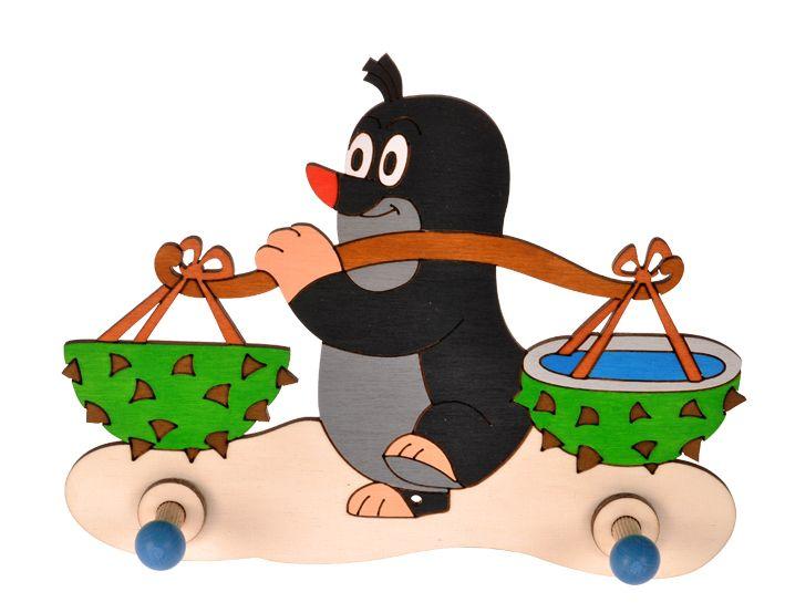 Dřevěné hračky Dřevěný 2 věšáček - Krtek s kaštany DoDo