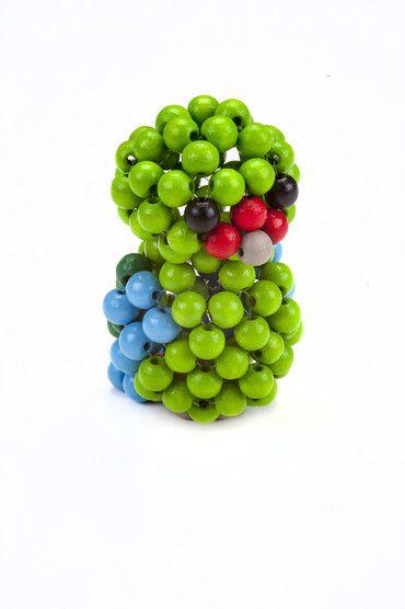 Dřevěné hračky Detoa Zvířátko z perliček - Papoušek zelený