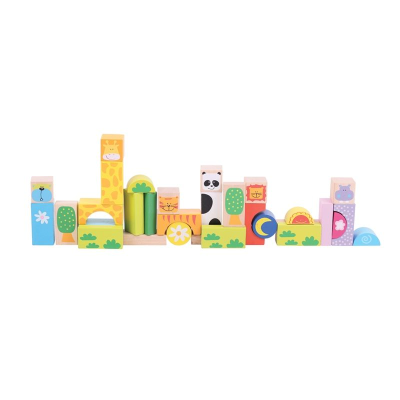 Dřevěné hračky Bigjigs Baby Barevné kostky Safari Bigjigs Toys