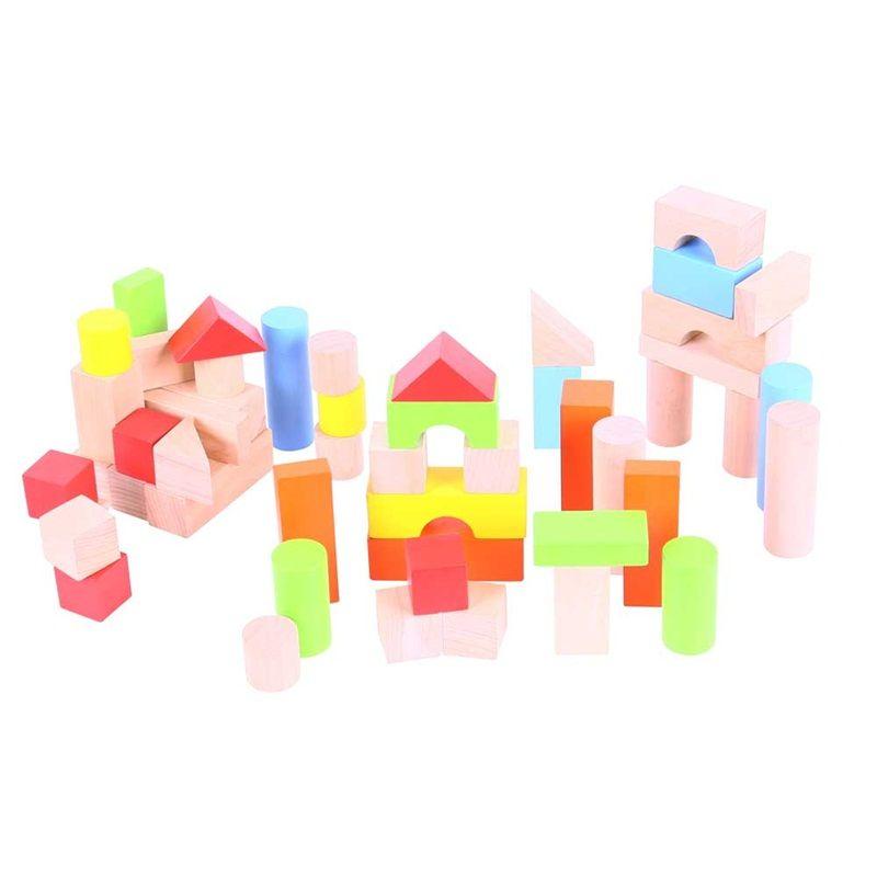 Dřevěné hračky Bigjigs Baby Barevné kostky v kyblíku 50 ks Bigjigs Toys