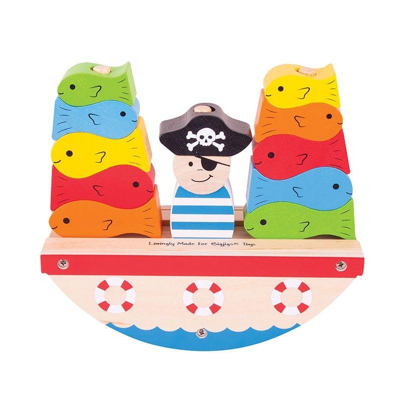 Dřevěné hračky Bigjigs Baby Nasazovací kostky pirát Bigjigs Toys