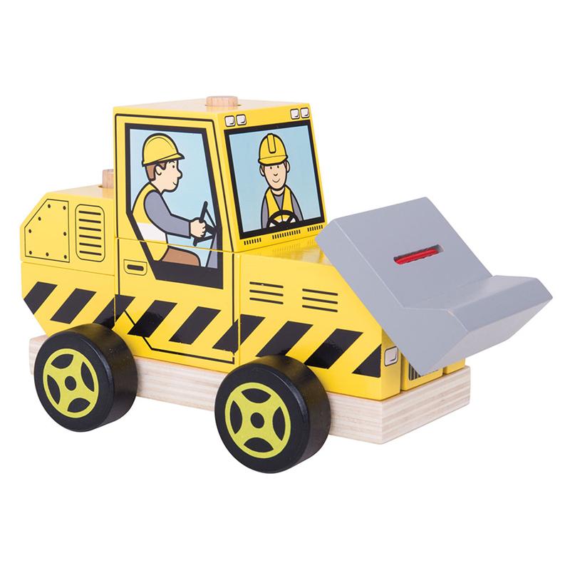 Dřevěné hračky Bigjigs Baby Nasazování buldozer Bigjigs Toys