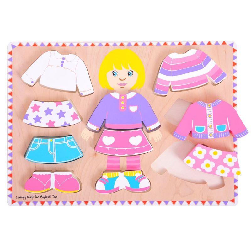 Dřevěné hračky Bigjigs Baby Oblékací puzzle holčička Bigjigs Toys