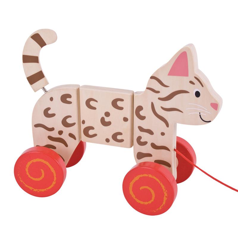 Dřevěné hračky Bigjigs Baby Tahací kočka Bigjigs Toys