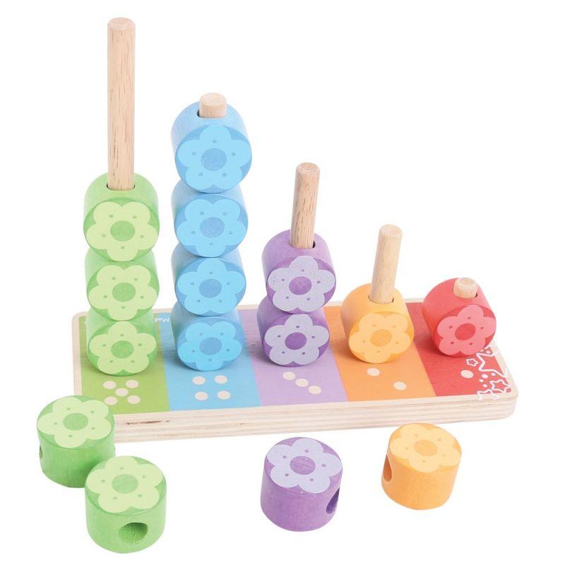 Dřevěné hračky Bigjigs Baby Nasazování barevných květinek Bigjigs Toys