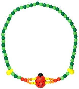 Dřevěné hračky Detoa Dětský náhrdelník 2x provlečená beruška