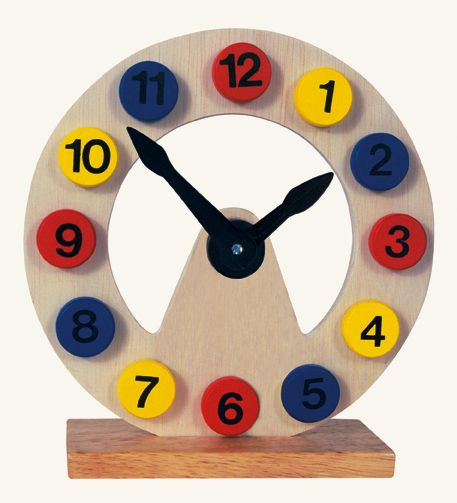 Dřevěné hračky Bino Dřevěné dekorace hodiny na stojánku