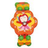 Dřevěné hračky - Dřevěné hodinky víla - oranžové